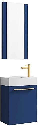 18 Inch Navy Blue Small Bathroom Vanity with Sink & Mirror, Narrow Bathroom Vanity