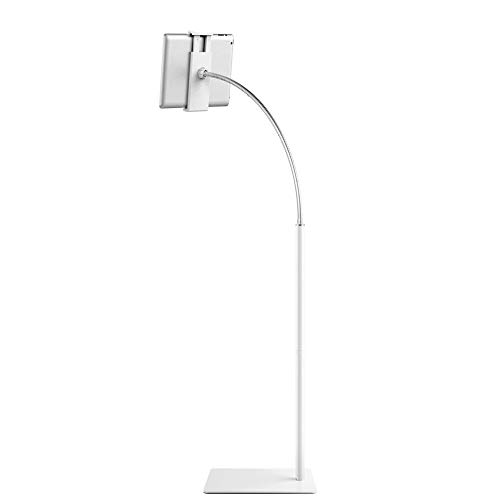 Tablet Stand Cell Phone Stand with Flexible Gooseneck and Stable Base Adjustable 360 Degree Rotating Floor Stand for iPad Within 3.5-10.6 inches (White)