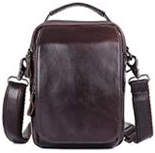 Leather Bag Mens Men's Shoulder Bag Leather Leather Shoulder Crossbody Bag Small and Lightweight Small Bag High Capacity (Color : Brown, Size : M)