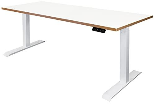 Elektrisch höhenverstellbare Steh-Sitz Schreibtische   Gestell weiß   Platte weiß   Kante Multiplex   Maße BxTxH 1800 x 800 x 735-1205 mm   Ototo   Novigami