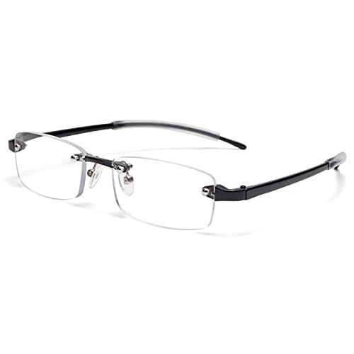 JIMMY ORANGE 老眼鏡 縁なし リムフレ 超弾力性 TR素材 ブルーライトカット PCメガネ 軽量 おしゃれ 4色 携帯用 メンズ レディース リーディンググラス ツーポイント (ブラック, +1.0)