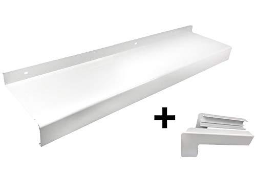 Alu Fensterbank weiß (Set) inkl. Aluminium Endkappen für Putz bis 2m Zuschnitt auf Maß (1200 mm, weiß Auslage 110mm)
