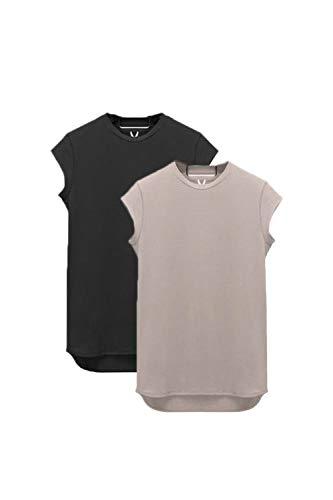 Vemubapis Mens Cap Sleeve Fitness Cotton T-Shirt Slim Fit Sweatshirts Blackgrey2P XL