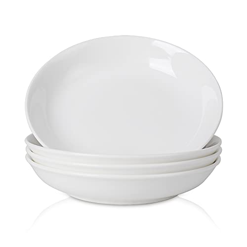 TGLBT Pasta Bowl, Pasta Salad Bowl Porcelain, 8 Inch Shallow Plate for Pasta, Salad Dessert, Set of 4, White