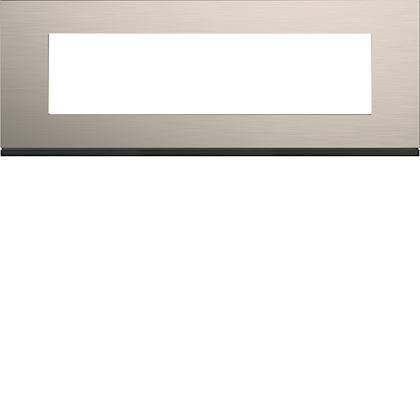 Placa de acabado de 8 módulos Gallery de aluminio, distancia entre ejes 71 mm, aluminio antiguo, WXP4508, Hager