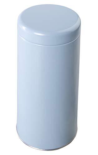 wenco Vorratsdose für Kaffeepads oder Tee, Ø 8,3 cm, Luftdichter Deckel, Höhe: 17 cm, Weißblech, Blau, 534345