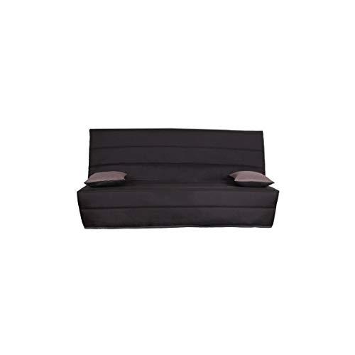 SPLOT Banquette clic clac 3 places - Tissu anthracite - Style classique - L 190 x P 95 cm