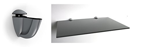 Regale4You 10 mm Glasregal Wandregal 60x40 cm schwarz lackiertes Glas, Clip Luna silbermatt