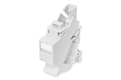 ASSMANN Hutschienen Adapter für 1x Keystone Modul, IP20, inkl. Beschriftungsfeld und Staubschutz, passend für DN-93617, silber