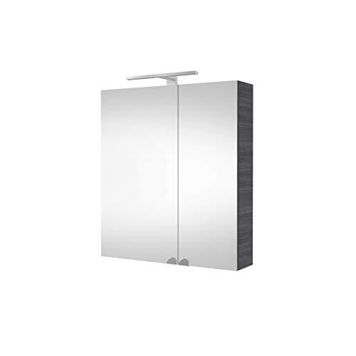 Planetmöbel Spiegelschrank Badezimmer mit LED Beleuchtung 60 cm (Anthrazit)
