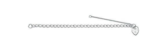Sterling Silber Panzerkette Glieder offen & Vorhängeschloss Charm Baby 15,2cm Armband 15,2cm