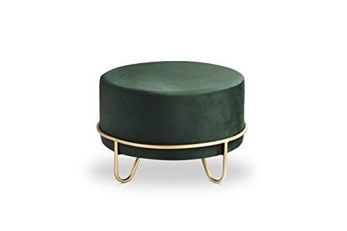LIFA LIVING Runder Samt Pouf für den Innenbereich, Vielseitiger Samt Hocker mit Goldener Metallbasis, bis zu 100 kg Traglast, 35 x Ø 55 cm (Grün)