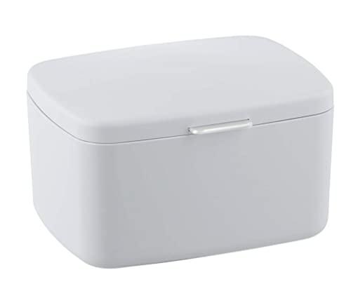 WENKO Badbox Barcelona mit Deckel Weiß - Aufbewahrungskorb, Badkorb mit Deckel, absolut bruchsicher, Kunststoff (TPE), 19.5 x 11 x 16 cm, Weiß