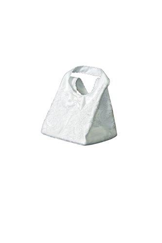 Elegante Brauttasche fürs Brautkleid aus Satin besetzt mit Spitze - T8 (weiß)