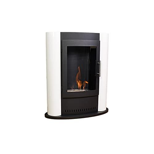 GLOW FIRE Lund - Estufa de etanol de color blanco, 4 horas de combustión, color blanco