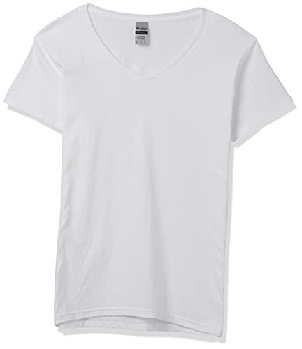 Gildan Women's Heavy Cotton V-Neck T-Shirt, 2-Pack, White, Small