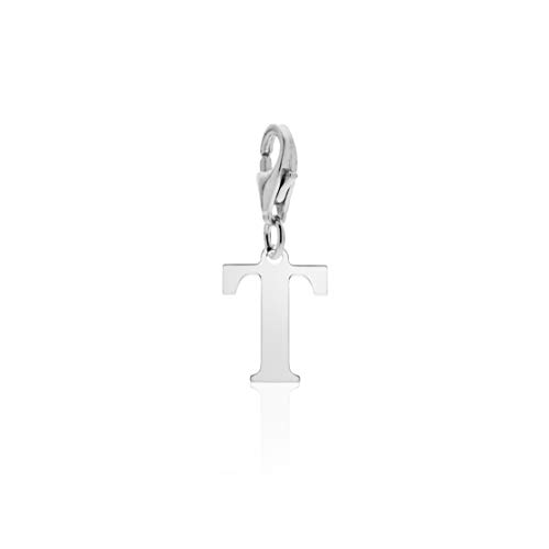 Aka Gioielli - Charm letra T de plata de ley 925 rodiada con colgante inicial del abecedario para mujer.