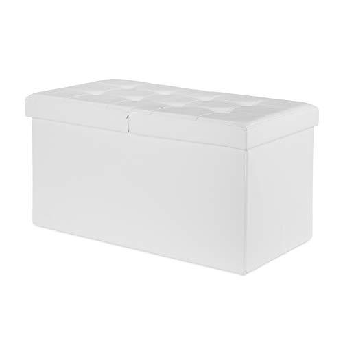 3 Colori Sgabello Pieghevole cassapanca Pouf Colore Bianco Ideale per Ogni Tipo di Ambiente cassapanca Contenitore 3 Colori Disponibili Relaxdays Sgabello Pieghevole cassapanca Pouf 3 Colori