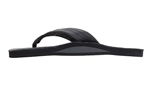 Rainbow Sandals Men's Double Layer Premier Leather w/Arch, Black, Men's X-Large / 11-12 D(M) US