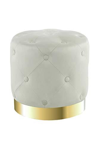 V Vascavi Sitzhocker in dekorativem Design | als Schminktisch Sitzhocker Pouf Sitzpouf Pouf Schminkhocker | Creme