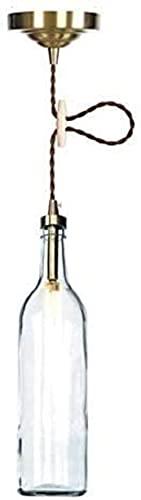 Hadunoi Lámpara de araña de Botella de Vidrio de Botella de Cerveza Multicolor Retro Industrial, Acabado de latón, Alambre Trenzado anticuado Ajustable, lámpara de araña E27 en Barra Tipo Loft (Colo