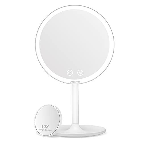 Auxmir Espejo Maquillaje con Luz LED, Espejo Cosmético Pequeño con Aumento 10X, Espejo de Mesa Iluminado, Espejo de Pie con...
