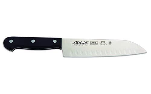 Arcos Séries Universal - Couteau Santoku Couteaux Japonais - Lame Acier Inoxydable Nitrum 170 mm - Manche Polyoxyméthyléne (Pom) Couleur Noir