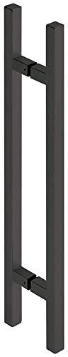 JUVA Design stootgreep schuifdeur glazen deurgreep vintage deurbeslag roestvrij staal zwart - H10078 | lengte 600 mm | handgreep voor glazen deuren & houten deuren | 1 stangengreep incl. bevestigingsmateriaal