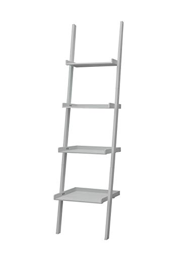 Estantería de madera, estantería de pie, estantería de baño, estantería de escalera, estantería de madera, gris, rústica, con 4 niveles
