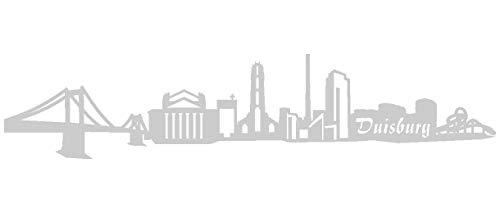 Samunshi® Aufkleber Duisburg Skyline Autoaufkleber in 8 Größen und 25 Farben (15x3,2cm silbermetalleffekt)
