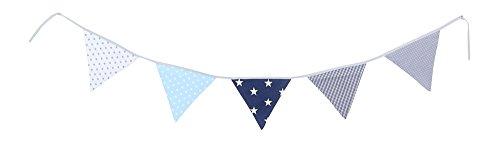 Guirnalda de banderines de ULLENBOOM ® con azul claro azul gris (guirnalda de tela: 1,90 m; 5 banderines; decoración para la habitación de los niños; fiestas de bienvenida para bebés)