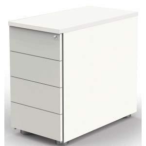 Kerkmann Anstellcontainer 4 Schubladen BxTxH 43x80x72-76cm mit Zentralschloss weiß