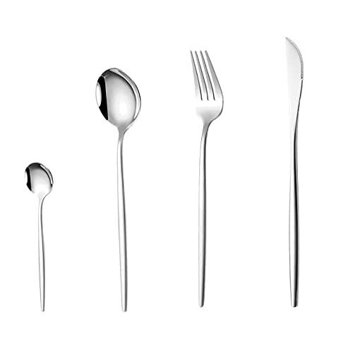 OUDEING Conjunto de Cuchara de Tenedor de Cuchillo de Acero Inoxidable 24pcs de vajilla, fácil de Limpiar y Ligero - Pulido Saludable y Espejo-Plata 24pcs