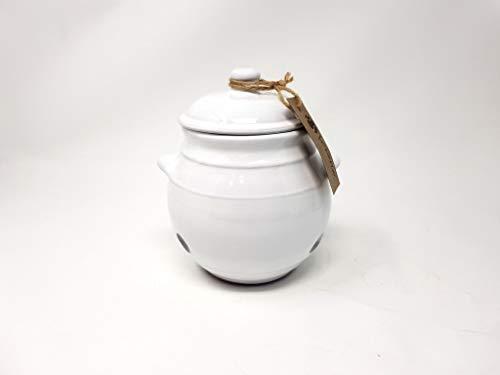 Tarro rústico para almacenamiento de ajos con tapa, 15 cm de alto blanco