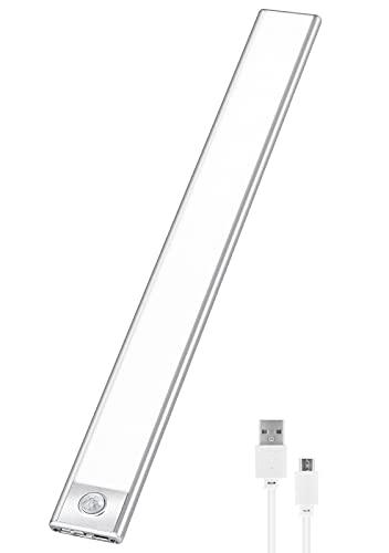 YEEZEN LEDセンサーライト 2200mAH 大容量電池 超薄型設計 昼光色 6500K USB充電式 階段ライト 足元灯 led バーライト 人感センサーライト 屋内 マグネット 70LED 省エネ 高感度 高輝度 超寿命 (1個)