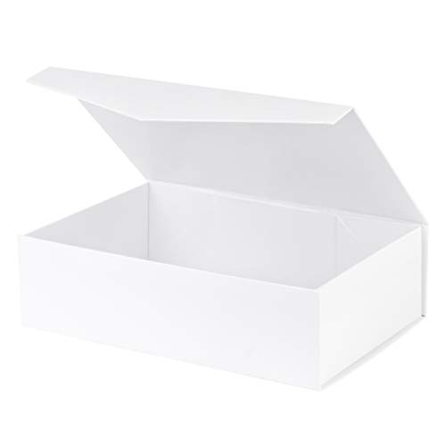 White Hard Gift Box with Magnetic Closure Lid 14' X 9' X 4' 1 Pack Gift Boxes with White Glossy Finish (1 Pack)