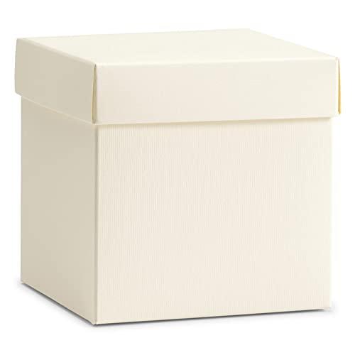 Semprepronte 100 Scatole per Bomboniere 10x10x10 cm - Varie Misure e Colori - Scatole per Comunione Matrimonio Battesimo Cresima Compleanni e Feste - RIF.EM055
