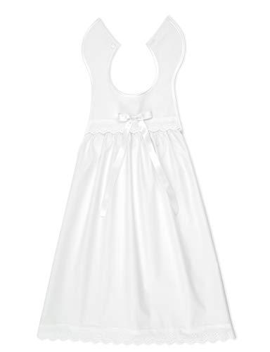 Bateo Design Baby Taufaufleger aus weißer Baumwolle mit Spitze + Schleife in weiß, Unisex, Festliche Taufbekleidung für Mädchen und Jungen geeignet