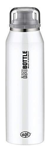 alfi 5677.101.050 Isolier-Trinkflasche isoBottle, Edelstahl Pure Weiß 0,5 l, 12 Stunden heiß, 24 Stunden kalt, Spülmaschinenfest, BPA-Free