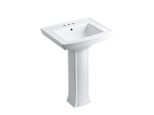 KOHLER K-2359-4-0 Archer Pedestal Bathroom Sink with 4' Centers, White