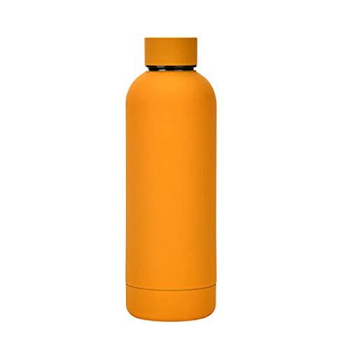 SDGSDG Botella de agua aislada de acero inoxidableOutdoor water bottle portable sportswater cup thermos cup-Orange_500mlpara fitness, gimnasio, senderismo, bicicleta, yoga,