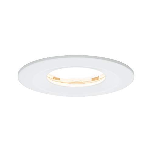 Paulmann Licht 938.81 Paulmann 93881 LED Coin Flache Einbaustrahler Slim Deckenspot rund 6,8W Einbaulicht dimmbar IP65 strahlwassergeschützt Einbauleuchte, 6.8 W, Weiß matt