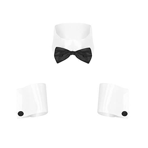 FEESHOW Herren Kellner Kostüm Barkeeper Kleidung Kragen Manschetten Set Männer Rollenspiele Dessous Nachtclub Outfits Weiß One Size