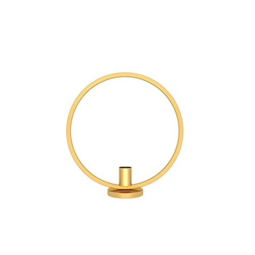 RKMJXJ Candlestick Bulk Round Simple Golden Candlestick Home Decoration Dining Table Candlelight Dinner Decoration Candlestick (Color : Gold, Size : 23 cm)