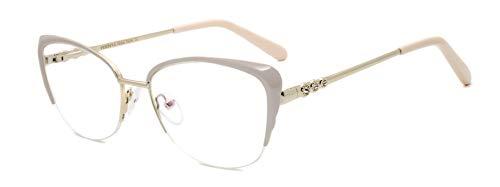 Global Glasses Mezza montatura da donna elegante con montatura a farfalla in metallo non graduato con diamante (colore rosa/oro)