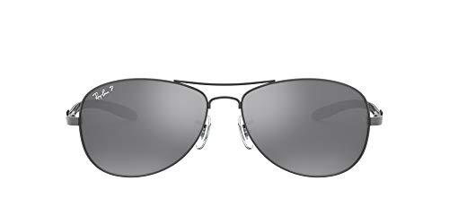 Ray-Ban Unisex Carbon Fibre Sonnenbrille, Mehrfarbig (Gestell: shiny, gunmetal Glas: polarisiert silber verspiegelt 004/K6), Large (Herstellergröße: 56)