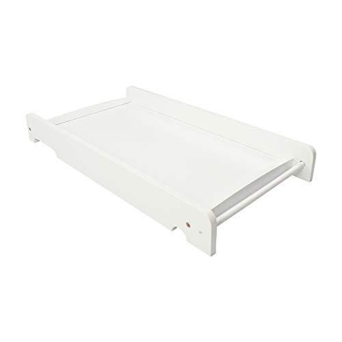 Puckdaddy Wickelbrett Mika – 87x44,5 cm, Wickelaufsatz aus Holz in Weiß, aufsetzbare Wickelauflage für das Babybett, hochwertige Wickeltischunterlage passend für alle IKEA Babybetten