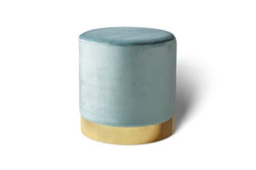 LIFA LIVING 38 cm Belle Runder Samt Pouf für den Innenbereich, Zylinderförmiger Samt Hocker mit goldenem Detail, in Grün aus Samt & Metall