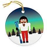 Cukudy Skiën Keramische Kerst Ornamenten 2018 Novelty Notenkraker Kerstmis