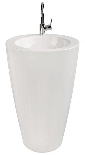 'aquaSu® Säulen-Waschplatz litO | Mineralguss | Durchmesser 52,5 cm | Weiß | Waschbecken | Standwaschbecken | Waschtisch | Standwaschtisch | Waschplatz | Bad | Badezimmer | Gäste-WC
